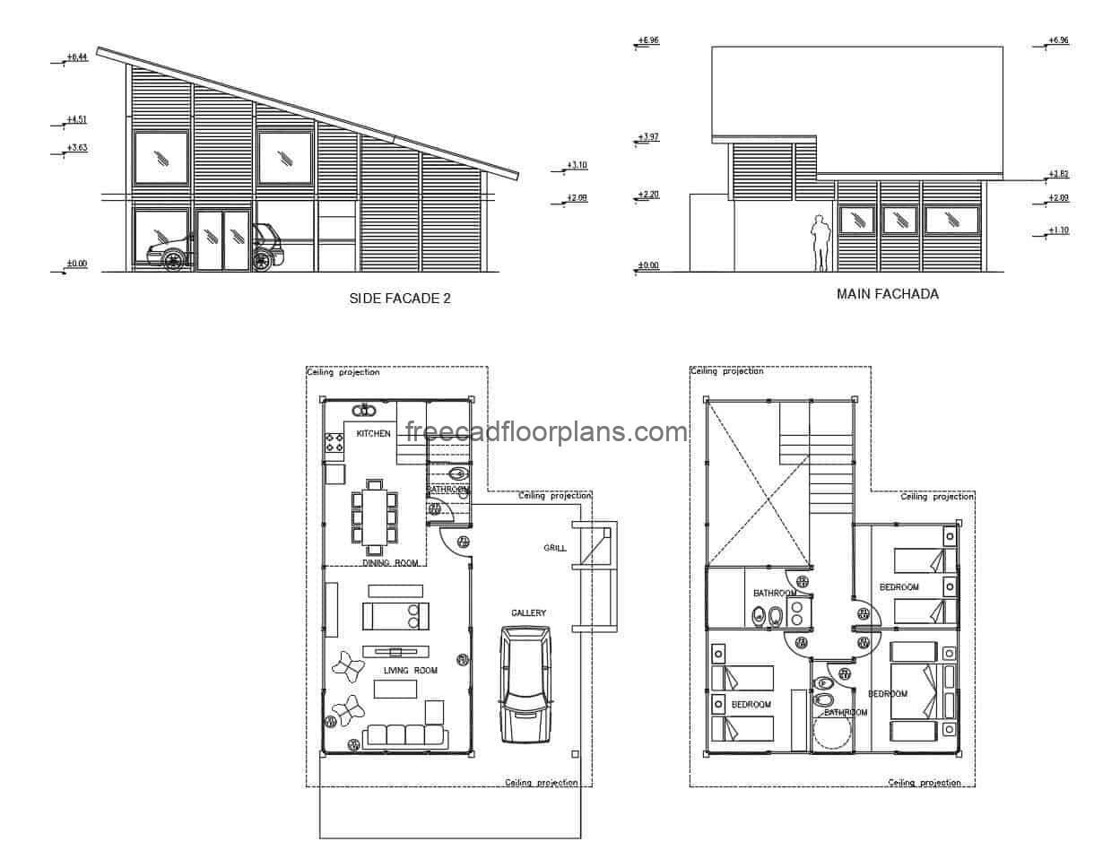 Architectural plan and elevations of a modern small mountain cabin, project made in autocad DWG format, plans for free download