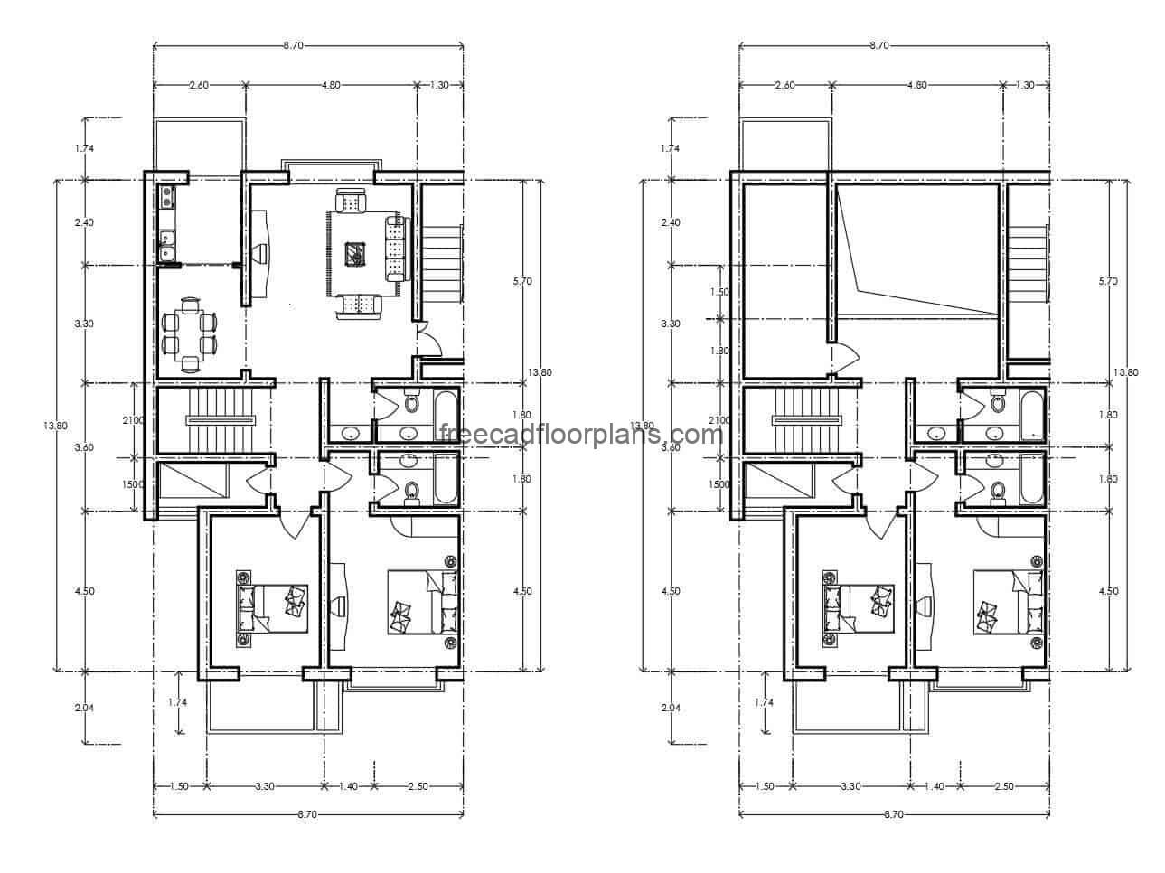 Architectural project of residential apartment in a plant with dimensions and distribution of spaces in DWG format of autocad, the project has room, kitchen, dining room, and private area with three bedrooms and two bathrooms.