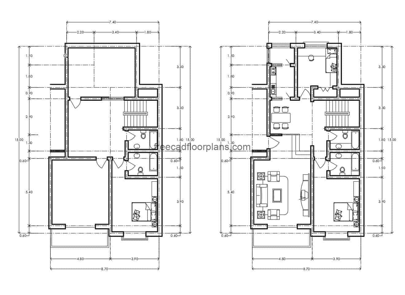 Architectural and dimensional plan of a small residential building with two bedrooms, two bathrooms, living room, kitchen, dining room and small laundry area, DWG file for download