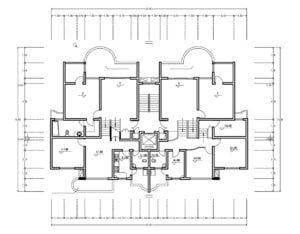Architectural design of residential building in symmetrical form, basic distribution of plant with living room, kitchen, dining room, laundry area and half bath in social area, two rooms in private area and internal stairs to penthouse area, project in DWG format for free download.
