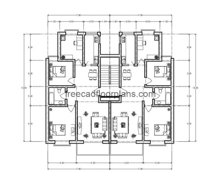 Residential Building Autocad Plan, 0907201