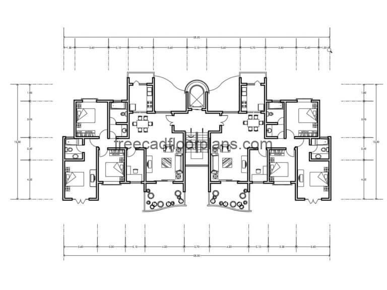Residential Building Autocad Plan, 1007201