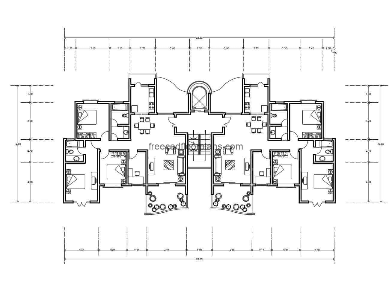 Architectural project and dimensioned plan of residential apartment with interesting volume mixing curved and rectangular shapes, file in DWG autocad format with blocks of interior spaces, living room, kitchen, rooms for free download