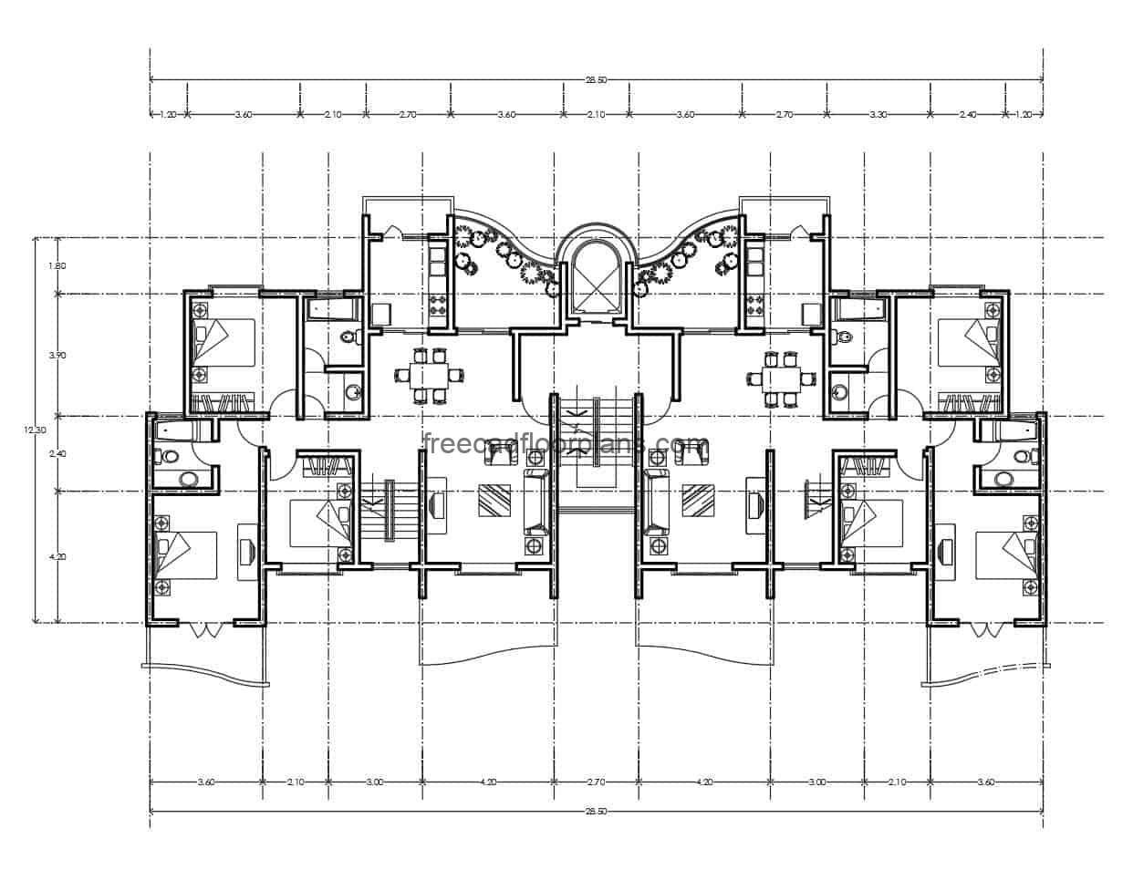 Architectural project and dimensioned plant of residential apartment of volumetria combined with balconies in curves and rectangular, apartment with three bedrooms, two bathrooms, living room, kitchen and dining room, with two balconies. file in format of autocad DWG