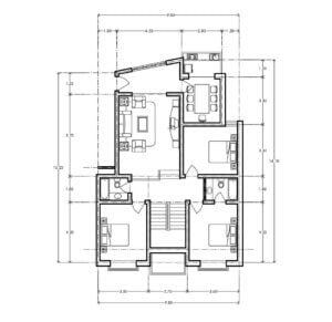 Residential apartment building, one apartment per level, space distribution; living room, kitchen, dining room, front terrace and three bedrooms with two bathrooms, file in autocad format for free download, architectural and dimensional plan.