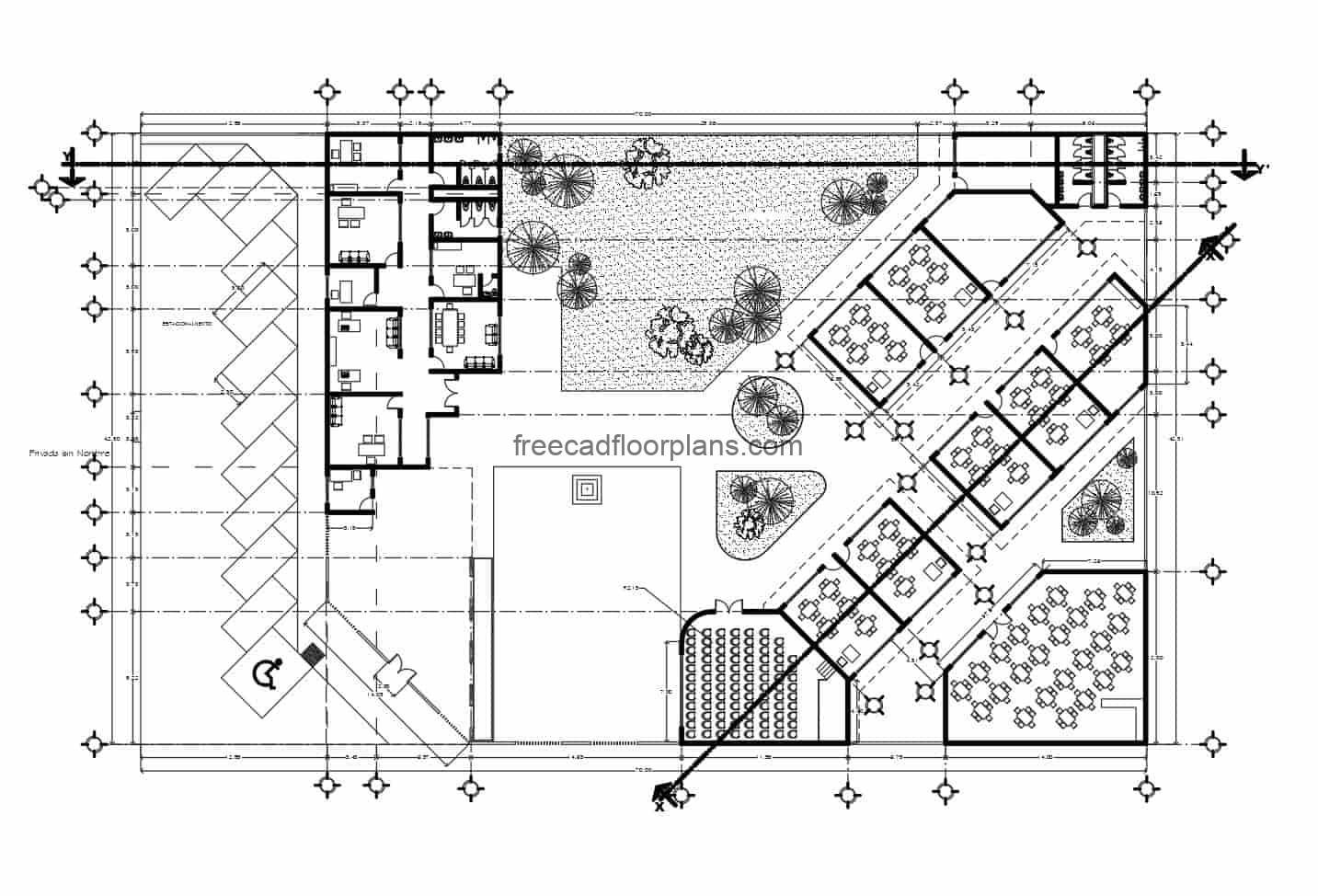 Complete preliminary project plans in DWG format for a single-level school, classrooms, green areas, offices and multipurpose rooms. The plans include an architectural plan, an overall plan, a dimensioned plan, elevations and technical construction detail plans.