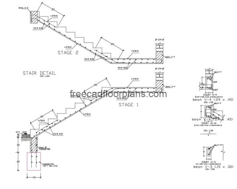 Stairs Details DWG Autocad, 1707201
