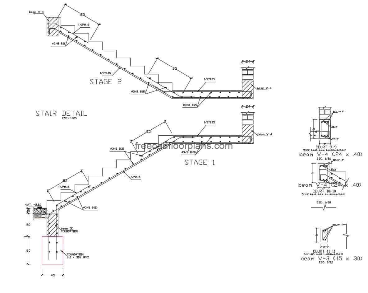 File in DWG format of autocad structural detail of staircase for building of levels, the plan contains detail of the steel and structural conformation of the staircase, steel and concrete.