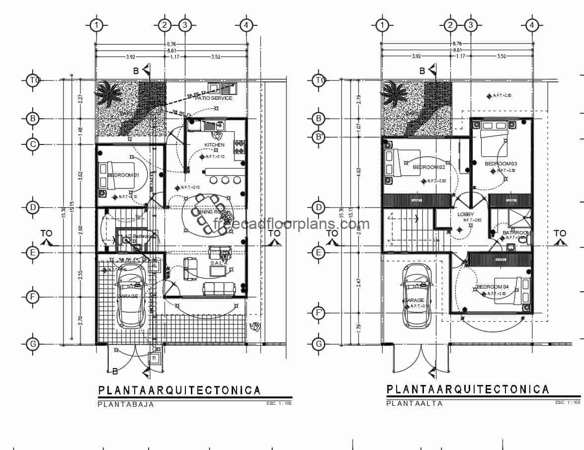 Residence of two levels architectural design and dimensioned plant drawn in autocad DWG for free download.