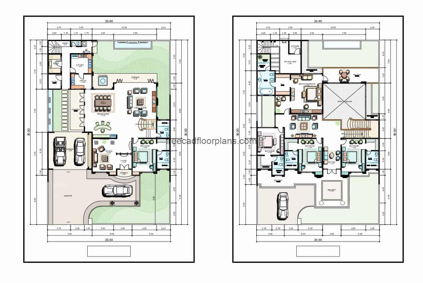 Two-storey residence drawing with four levels for free download in autocad DWG file