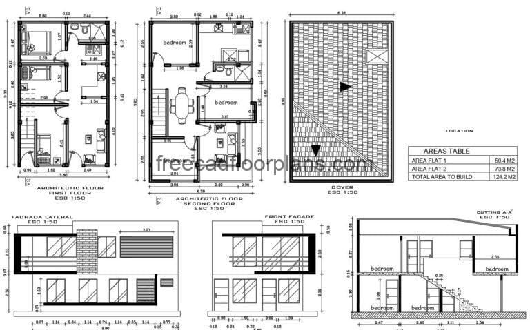 Small Two-storey House Autocad Plan, 2107201
