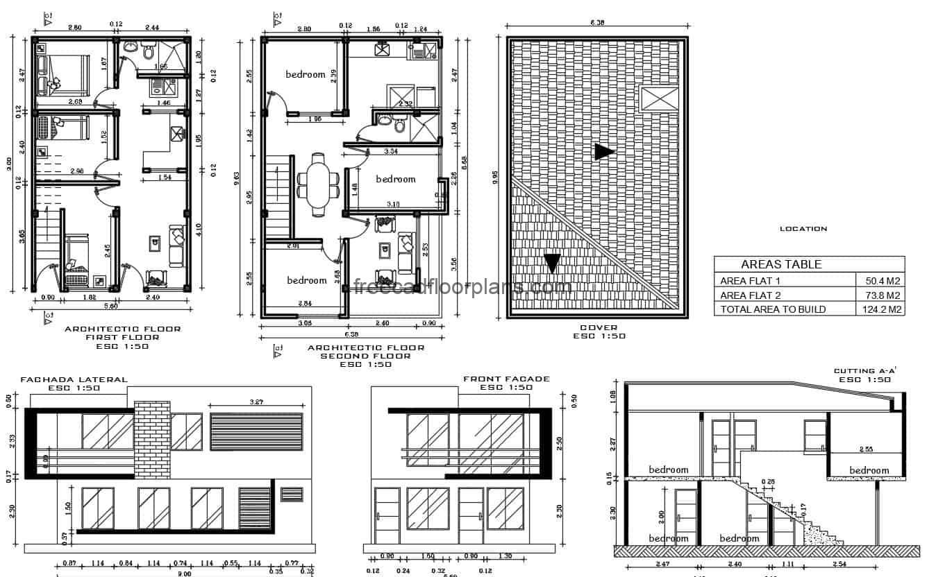 Small house of two levels designed in DWG format of autocad for free download, one house by each level, the preliminary project of this residence counts on architectonic, dimensioned plant, plants of technical details for construction including foundation plant