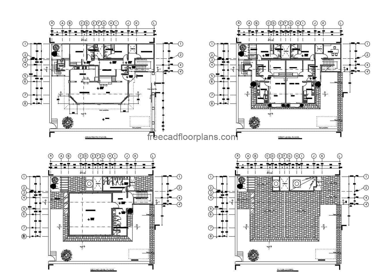 Family housing with two different floors for free download, architectural design in DWG plans, dimensioned plant