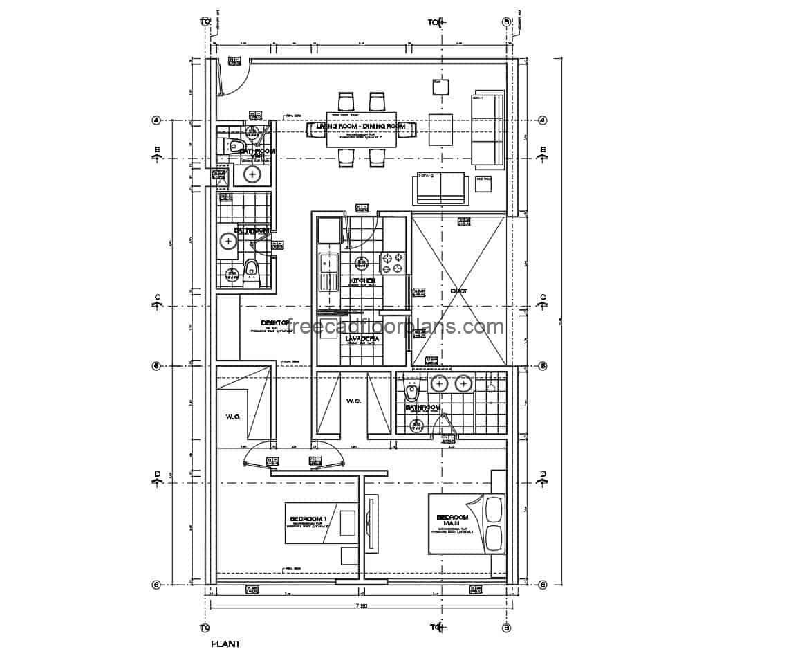 File for free download in DWG format of autocad, simple house in a level with two rooms in private area, main room with independent bathroom, social area with living room, dining room, kitchen and bathroom of visit, architectural plant, dimensioned, sections with details of interior materials.