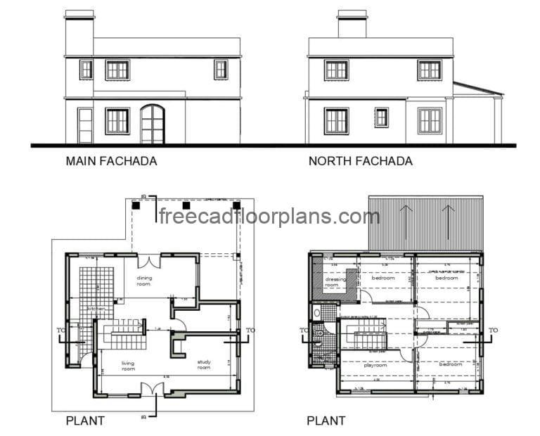 Two-Storey Country House Project Autocad Plan, 2207202