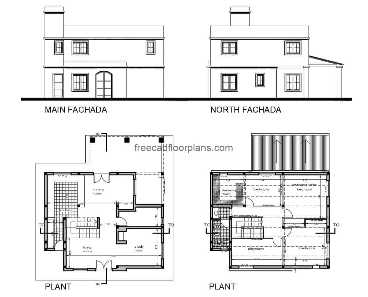 DWG autocad file for free download, two-level country house, architectural plan, dimensions and elevations.