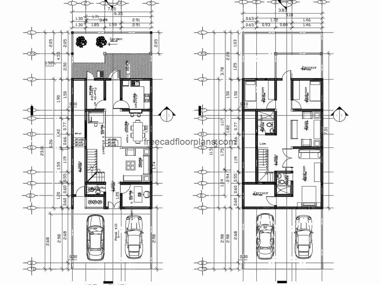 Family residence of two levels for free download, architectural design in DWG plans