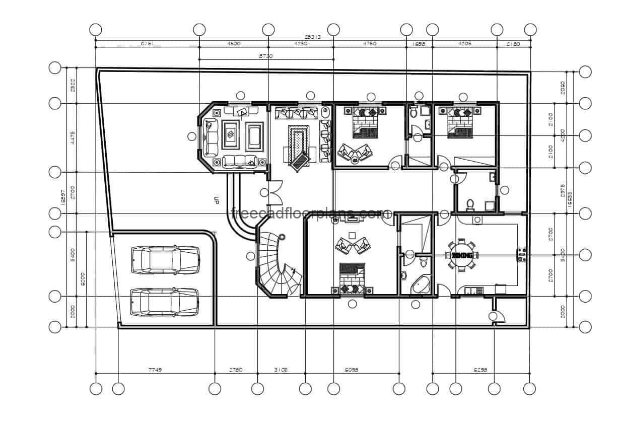 Complete architectural project of family residence of two levels in Autocad format, in the first level the distribution of space has garage for two vehicles, living room, family room, kitchen, dining room, three bedrooms and three bathrooms, the second level has two family rooms, two kitchenette, and four more rooms.