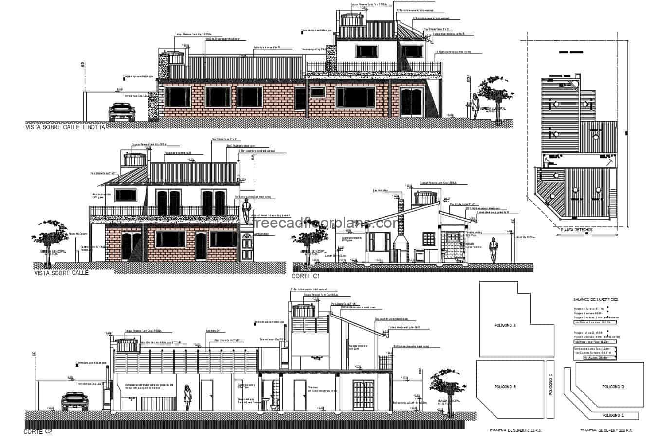 Building drawn in autocad of house with commercial premises of two levels, file for free download, architectural plans, sizing, elevations and technical construction plans.