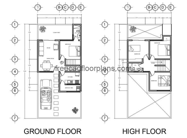 Small House With Two Stories Autocad Plan, 1607202