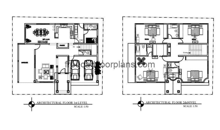 Two-Storey House Full Project Autocad Plan, 2207201