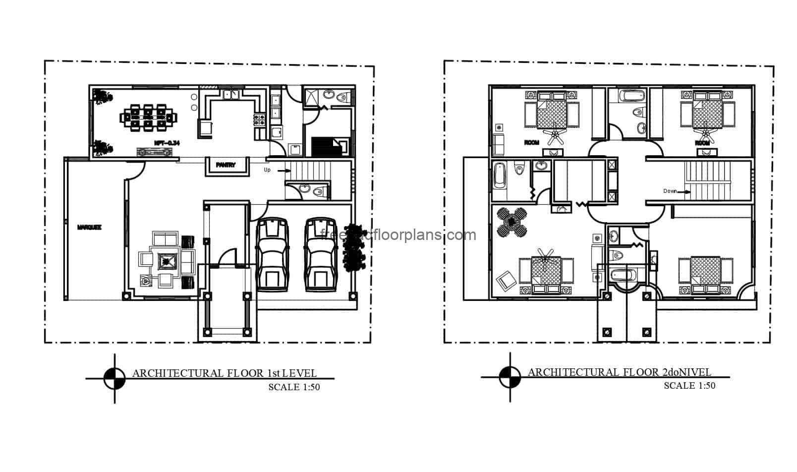 Two-level house complete project in DWG format, complete project plans for free download, architectural plan, dimensioning, electrical plans, sanitary, foundations, technical details, sections, elevations.