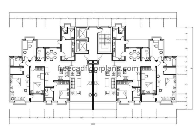 Residential Building Autocad Plan, 0407201