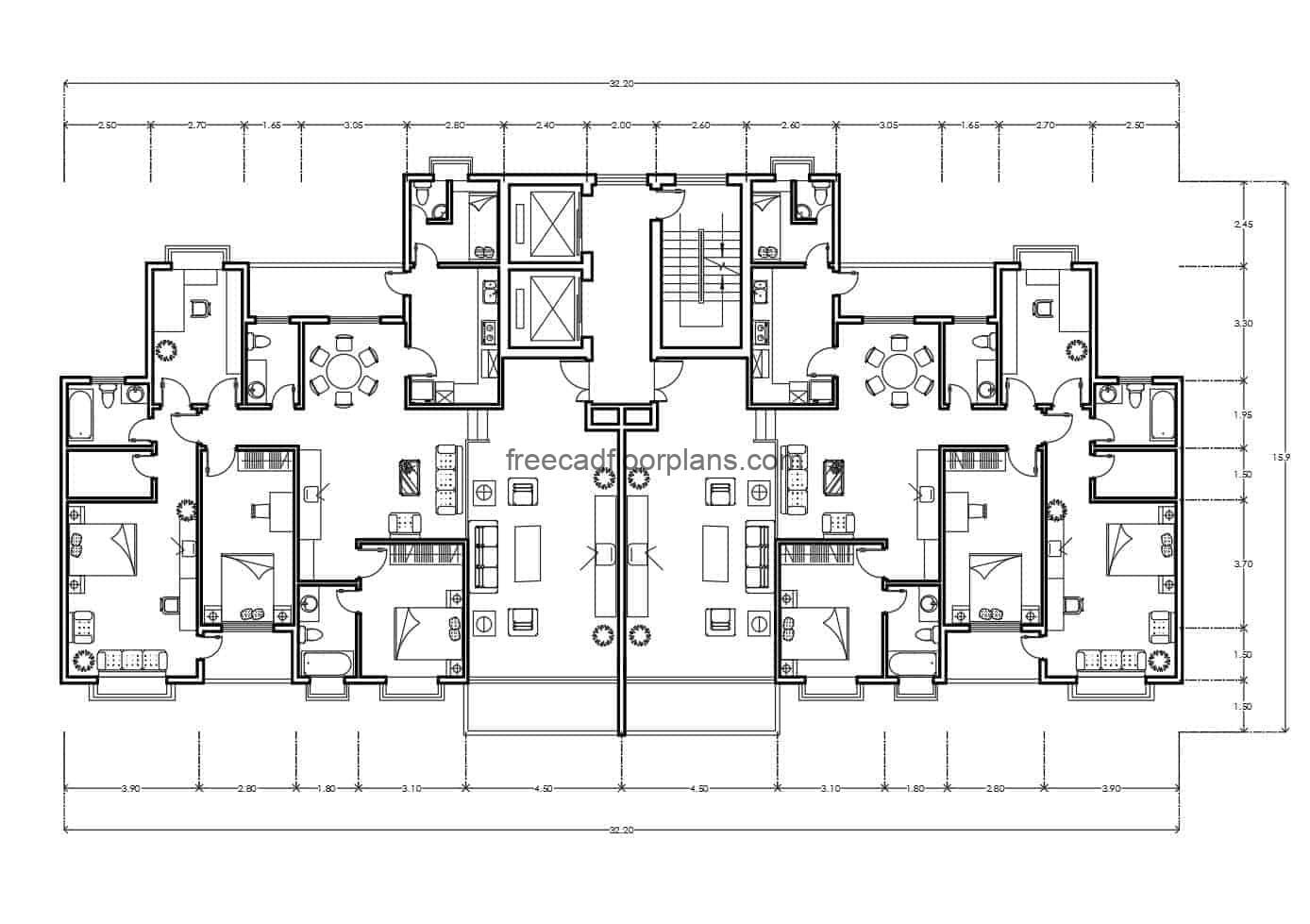 CAD DWG Archive of a symmetrical residential building, completely furnished with DWG blocks, architectural distribution plant and dimensioned plant
