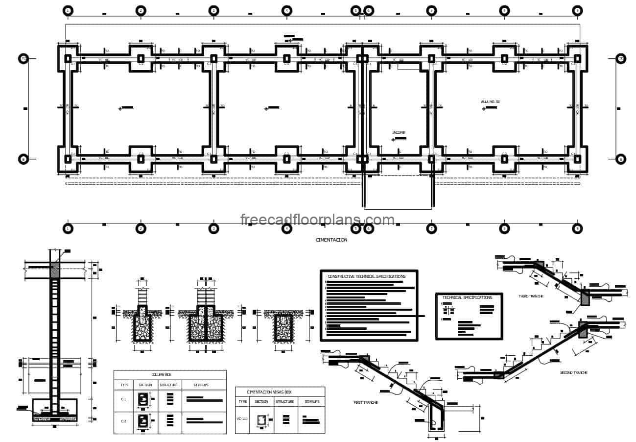 Plan in autocad with technical construction specifications of foundation for school building, details of foundation of beams, columns, footings and walls, steel in slab and armed of stairs, besides details of armed of steel structure in roof.