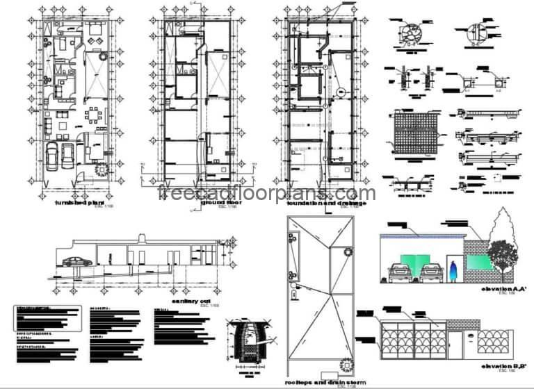 Small House With Two Rooms Autocad Plan, 1207201