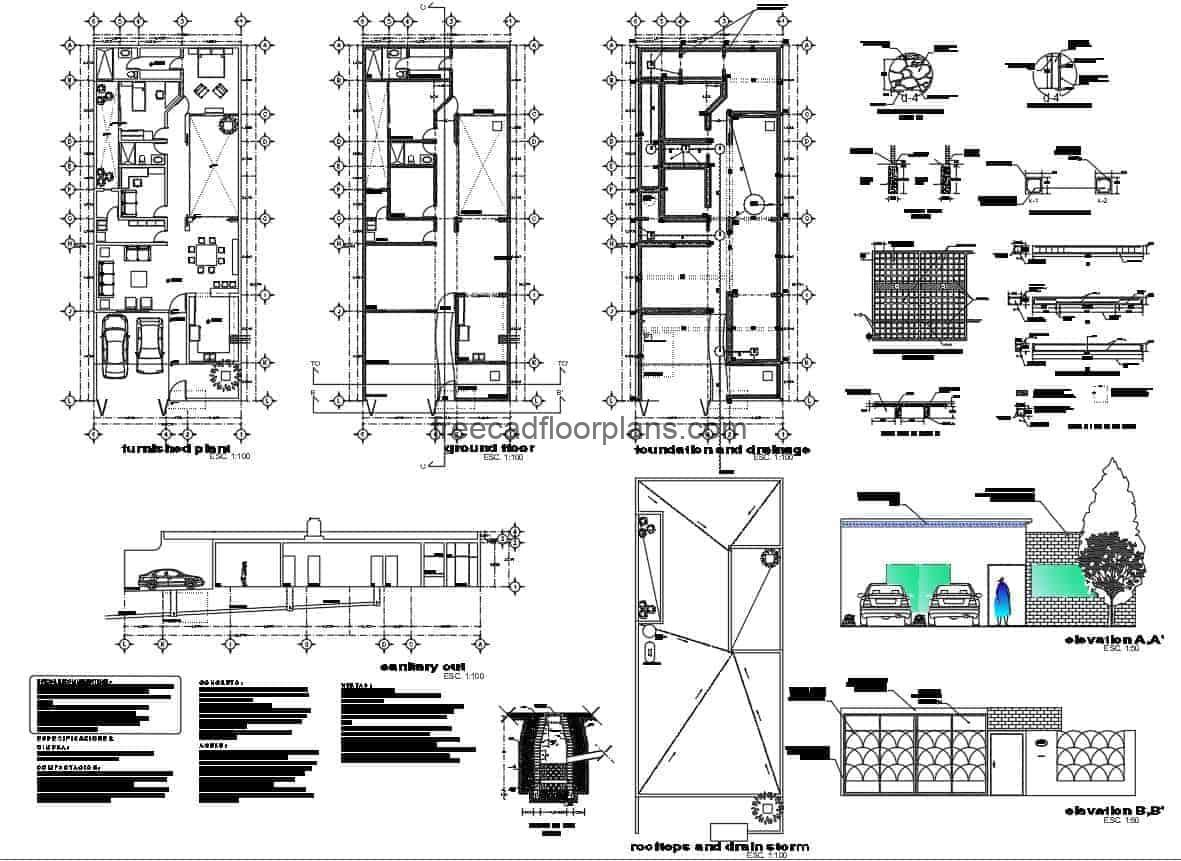 Small House With Two Rooms Autocad Plan 1207201 Free Cad Floor Plans