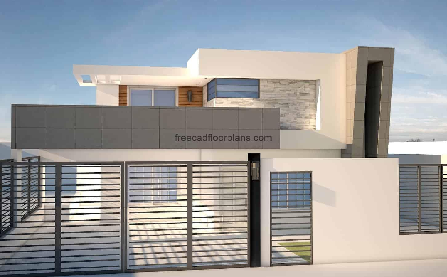 Architectural project, plans in format of autocad DWG, of residence with minimalist style, the plans have blocks of autocad, architectural plant, dimensioned, structural, sections and details of foundation