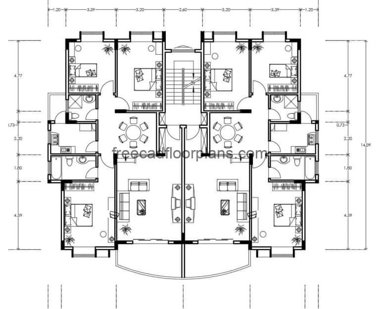 Residential Building Autocad Plan, 2506201