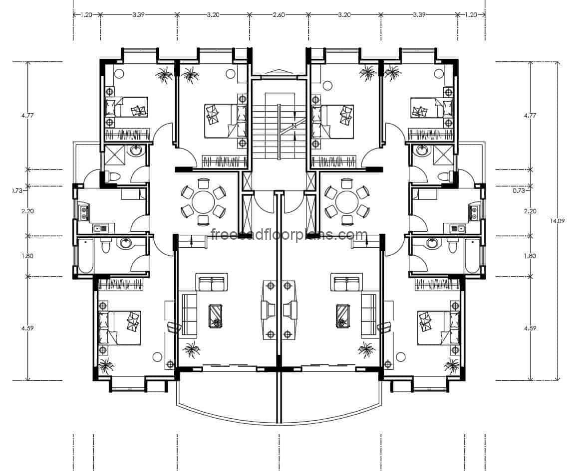 AutoCAD DWG plan of a residential building, architectural and dimensional plan, project for free download.