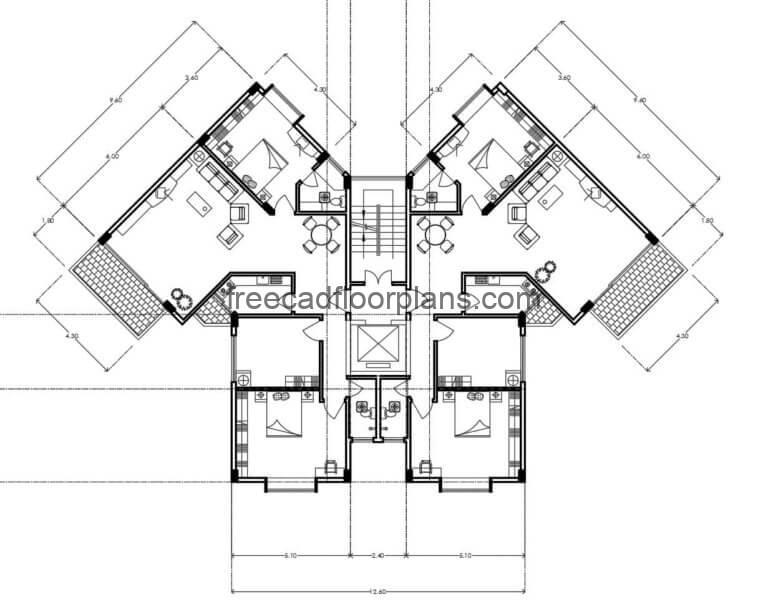 Residential Building Autocad Plan, 0307202