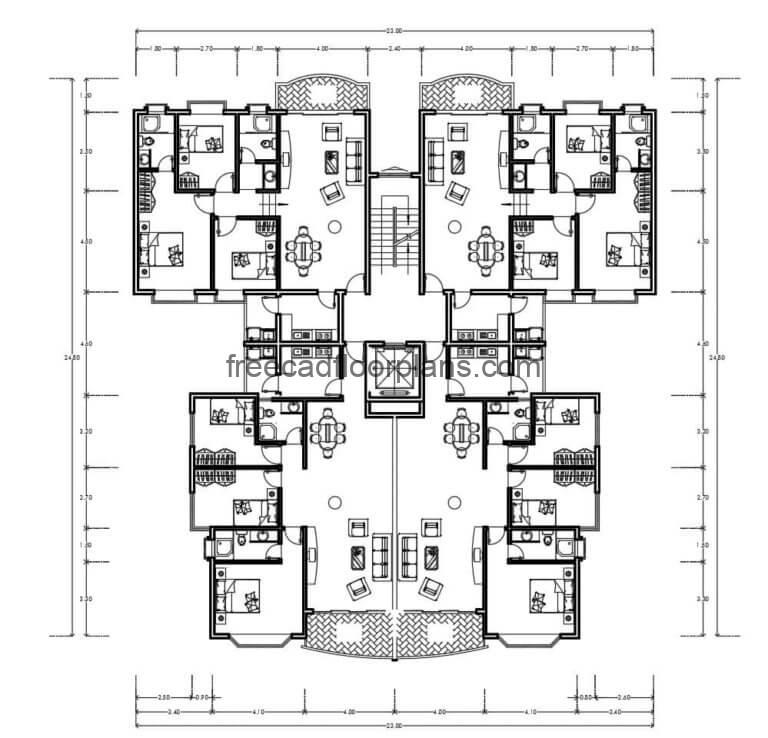 Residential Building Autocad Plan, 0407202