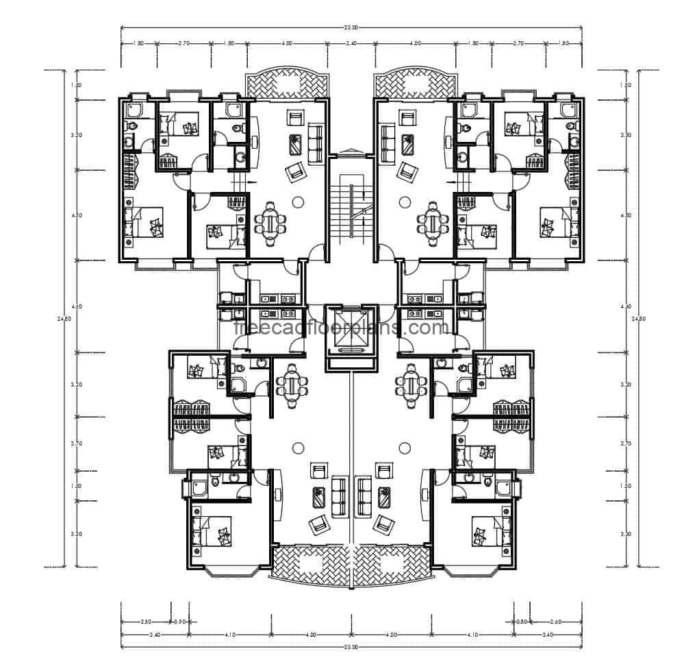 DWG archive of residential building, four apartments joined in one block, architectural distribution of living and dining room, kitchen and laundry area and three bedrooms in private area. The plan contains the architectural distribution and dimensioned plant.