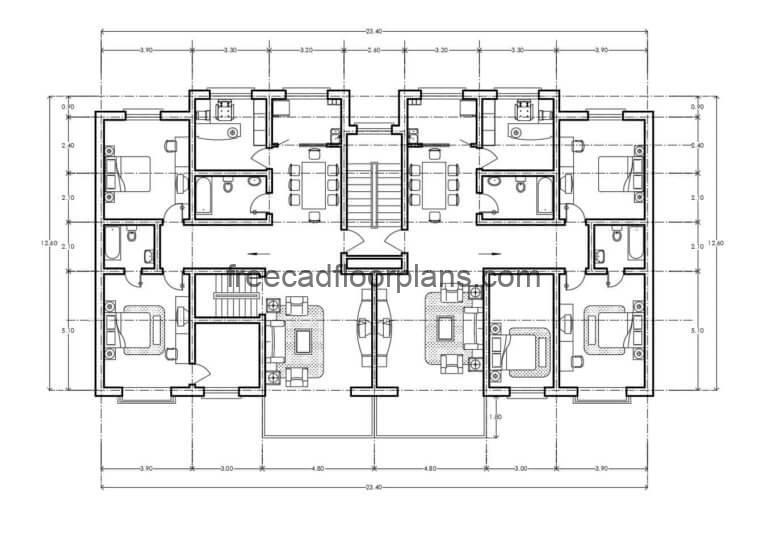 Residential Building Autocad Plan, 0507201