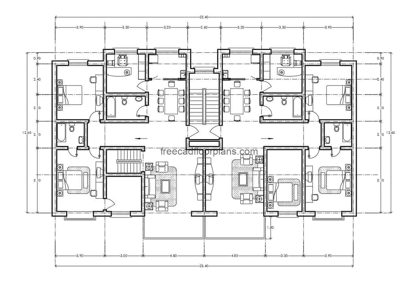 Residential Building Autocad Plan 0507201 Free Cad Floor Plans