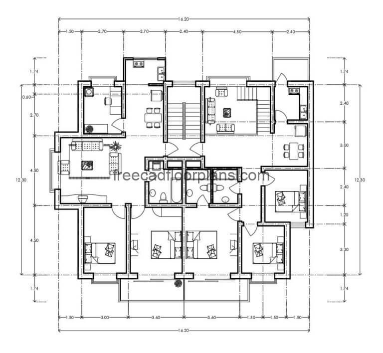 Residential Building Autocad Plan, 1307201