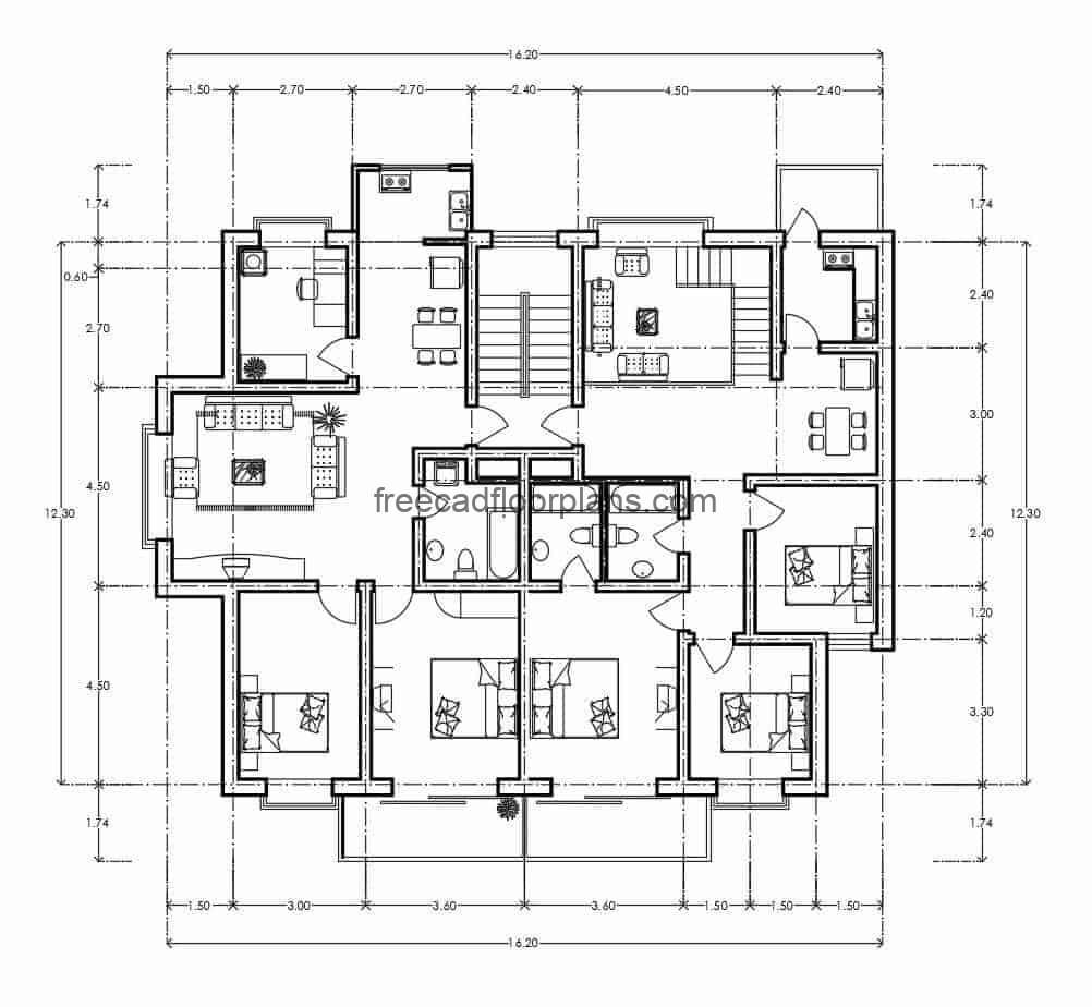 Architectural and dimensioned plan of residential building in autocad format for free download, the building is distributed in two different blocks with the following internal spaces: living room, kitchen, dining room, two bedrooms with shared bathroom, study room and front terrace, the second block of buildings has three bedrooms, master bedroom with separate bathroom.