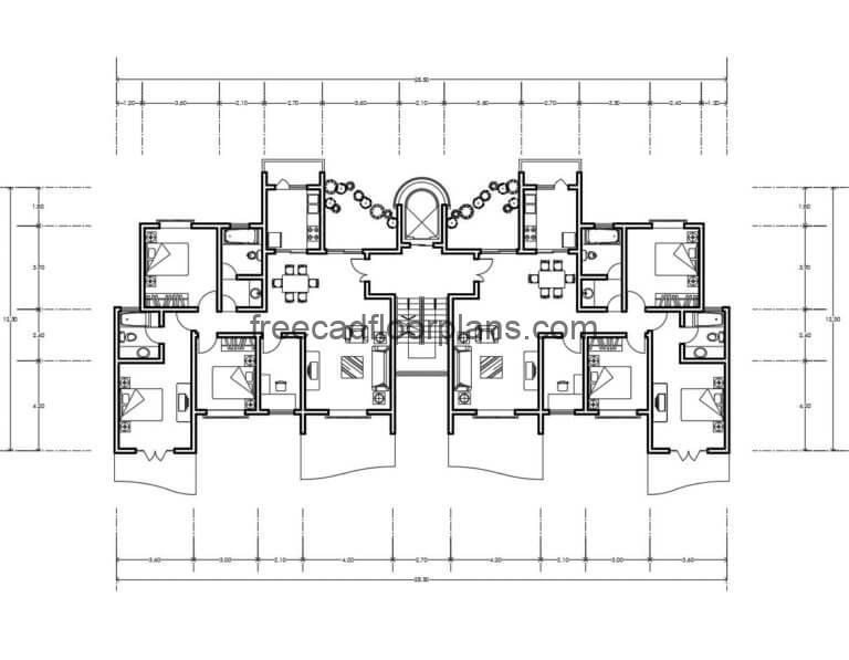 Residential Building Autocad Plan, 1307202