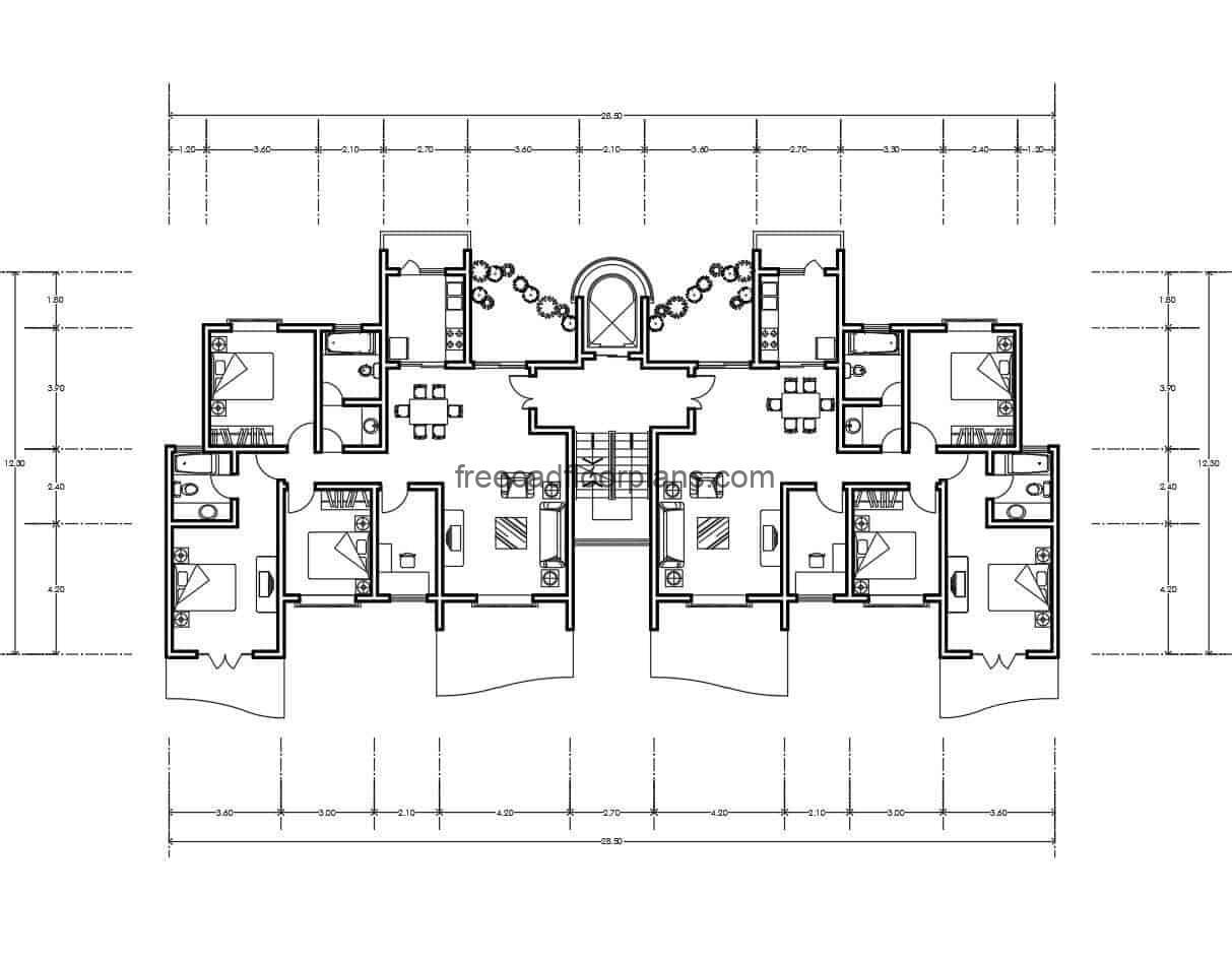 File for free download in DWG format, multilevel family residential apartment divided into two blocks, architectural and dimensioned floor plan, living room, kitchen, dining room, service area, front terrace and three bedrooms for each block, master bedroom with separate bathroom and balcony.