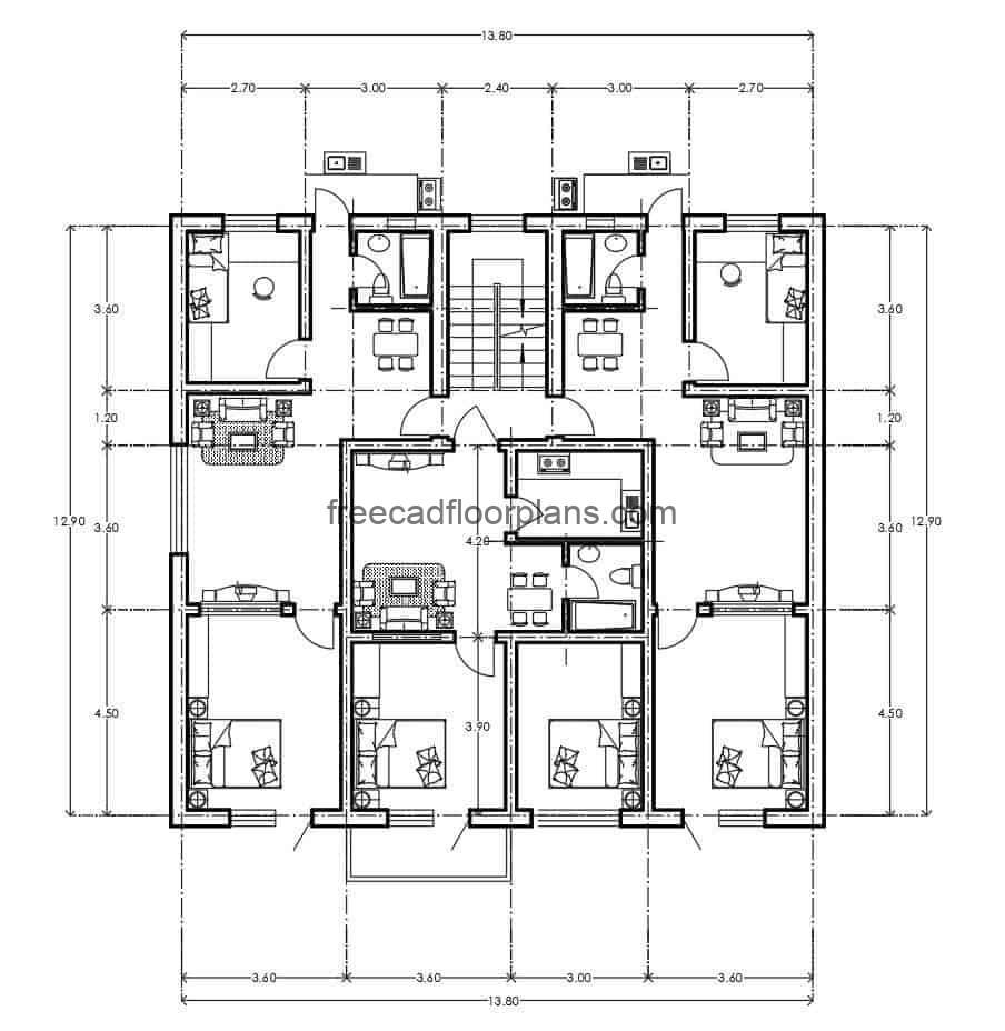 Architectural and dimensioned plan of residential project, three apartments of basic dimensions by level, distribution of simple spaces of room, kitchen, dining room, two simple rooms and area of washing.