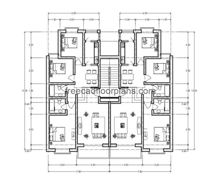 Residential Building Autocad Plan, 1507202
