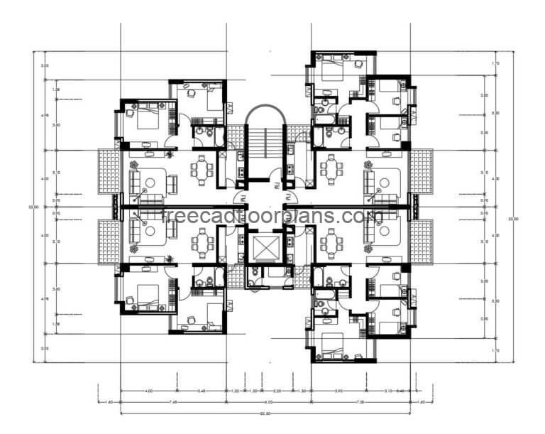 Residential Building Autocad Plan, 2007201