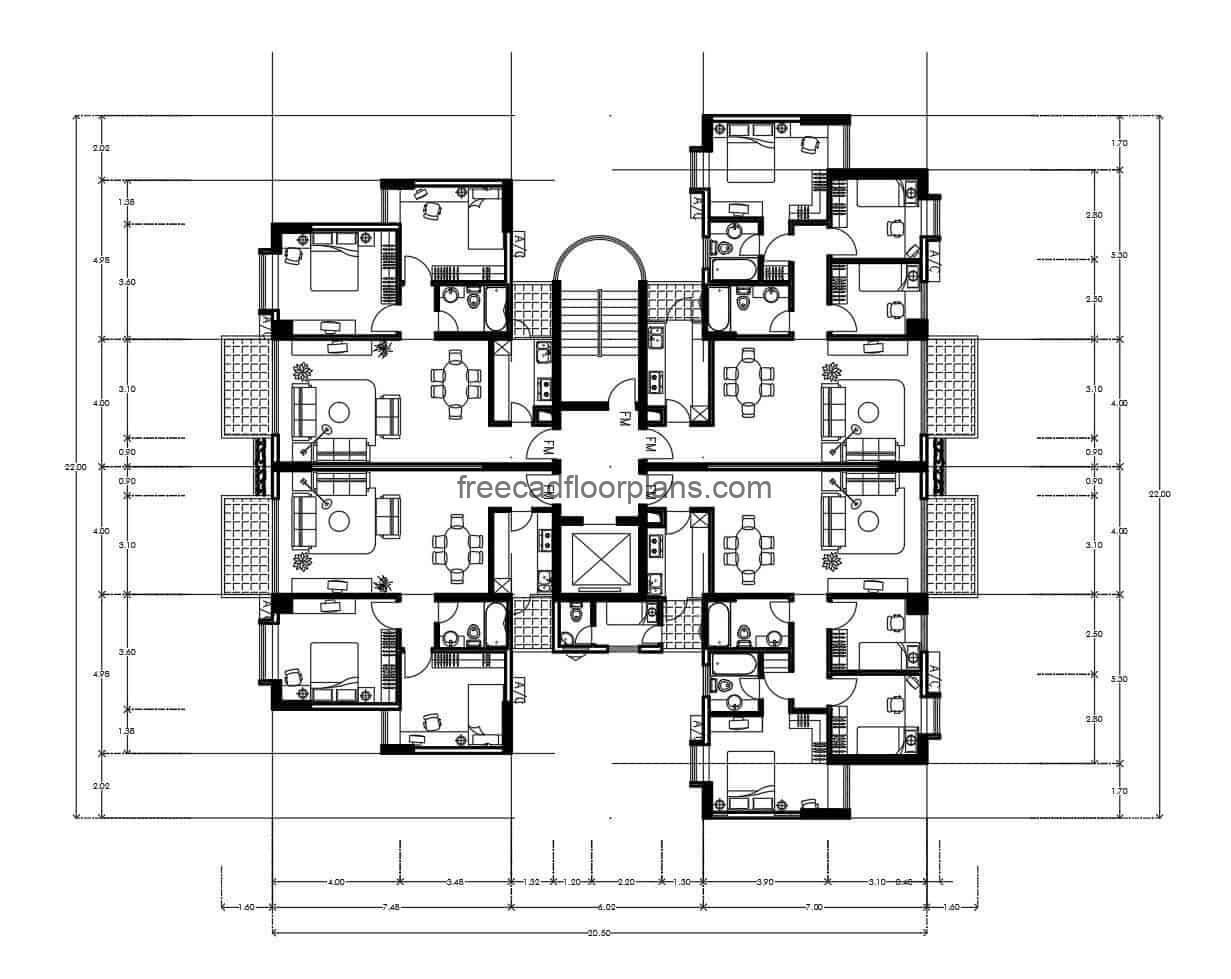 Architectural plant and dimensioned for free download in DWG format of autocad, residential building of multiple levels, symmetrical floor distribution of four apartments per level