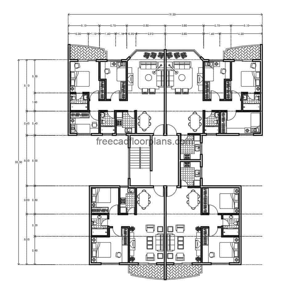 Architectural and dimensional plan of residential building divided into two blocks four apartments per level, drawing in DWG format for free download