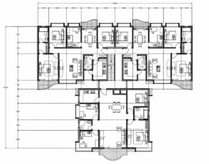 Architectural and dimensional drawings file in DWG format of residential building, four apartments per block, building defined with blocks and DWG furniture, the structure of the building is formed by two blocks