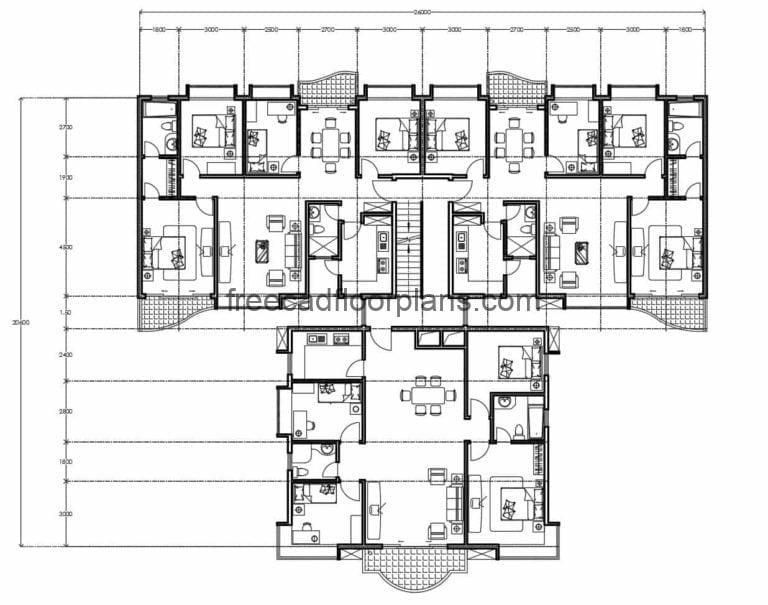 Residential Building Autocad Plan, 2307201